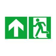 Notausgang links mit Richtungspfeil aufwärts