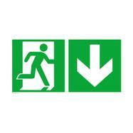Notausgang rechts mit Richtungspfeil abwärts