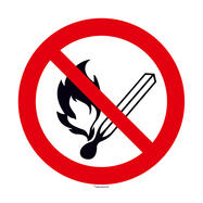 No open flames; Fire and smoking forbidden