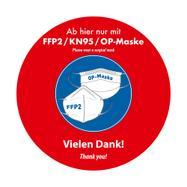 "Outdoor Bodenaufkleber ""FFP2 / KN95 / OP-Maske tragen"""