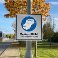 Hinweisschild Maskenpflicht - FFP2, KN95, OP-Masken