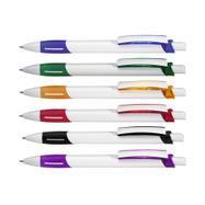 """Druckkugelschreiber """"Stripe"""", weiß mit farbiger Griffzone und Clipschale"""