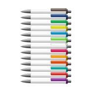 """Druckkugelschreiber """"Fashion"""" in schwarz oder weiß mit farbigem Clip"""