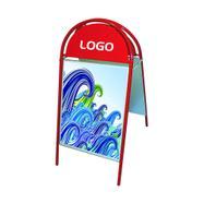 Plakataußenständer mit halbrundem Topschild
