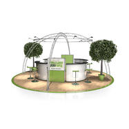 Messestand FD 22, 6.500 mm x 3.500 mm x 6.500 mm (B x H x D)