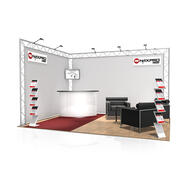 Messestand FD 22, 4.000 mm x 2.500 mm x 3.000 mm (B x H x D)