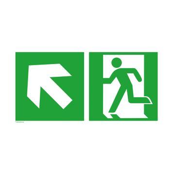 Notausgang links mit Richtungspfeil links aufwärts