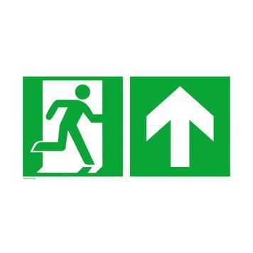 Notausgang rechts mit Richtungspfeil aufwärts