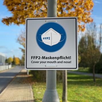 Hinweisschild FFP2-Maskenpflicht