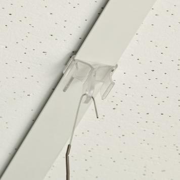 Deckenclip Kunststoff, Haken 90° zur Deckenschiene