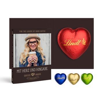 Werbekarte mit Lindt Schokoladen Herz, 20 g
