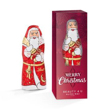 Lindt Weihnachtsmann in bedruckter Werbebox