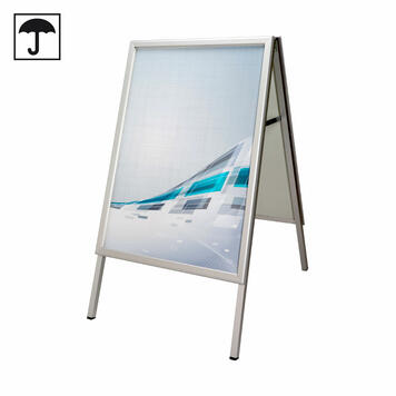 Regenwasserfester Kundenstopper, 32 mm Profil, doppelseitig, mit Gehrungsecken, silber eloxiert