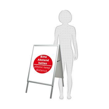 Regenwasserfester Kundenstopper mit Plakaten - Bitte Abstand halten