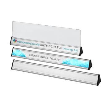 Kassentrennstab / Warentrenner aus Aluminium, dreieckig