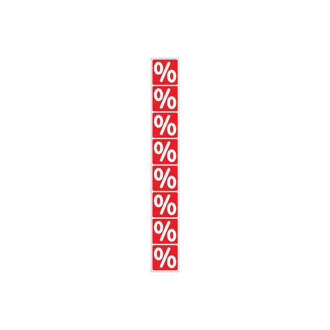 Aufkleber Prozentzeichen-Banderole, senkrecht