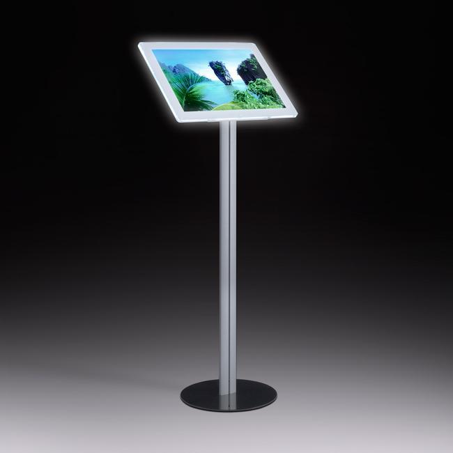 LED Magnetrahmen Infodisplay, freistehend, aus Aluminium und Stahlfußplatte
