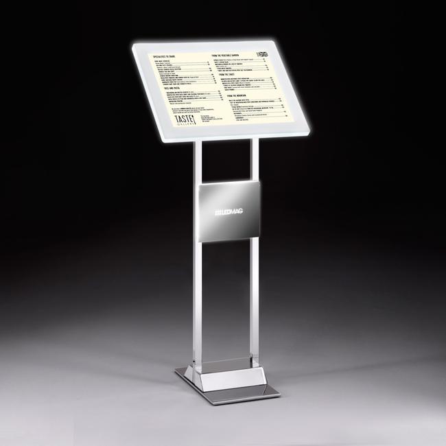 LED Magnetrahmen Infodisplay aus verchromten Stahl inkl. LED Magnetrahmen