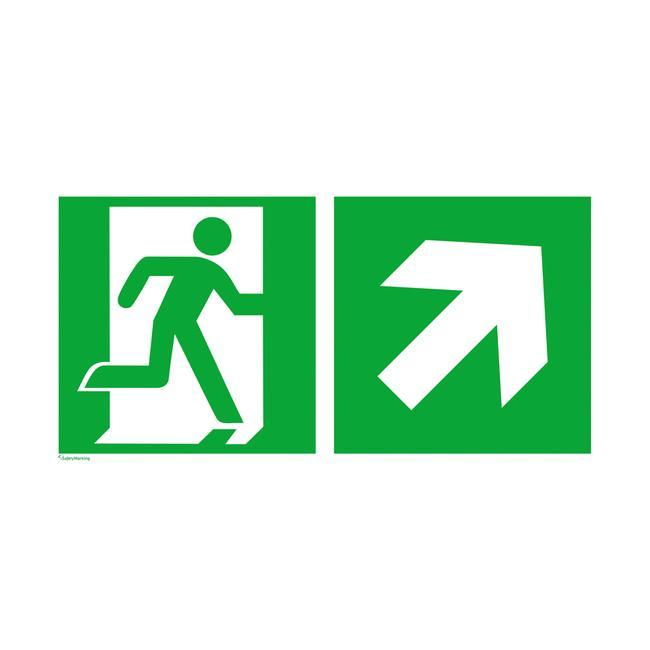 Notausgang rechts mit Richtungspfeil rechts aufwärts