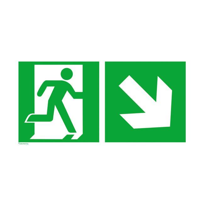 Notausgang rechts mit Richtungspfeil rechts abwärts