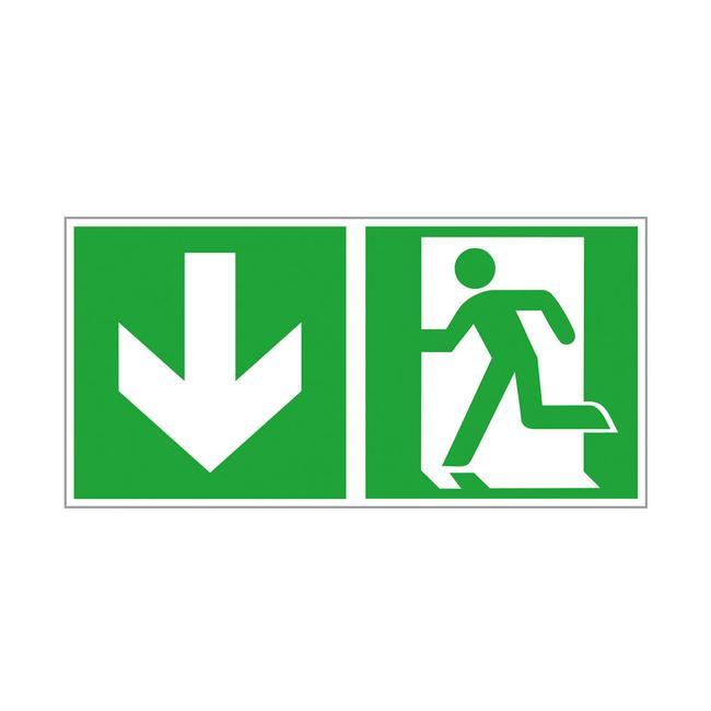 Notausgang links mit Richtungspfeil abwärts