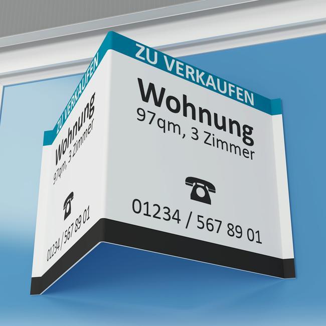 Immobilien-Maklerschild aus PP-Hohlkammerplatte
