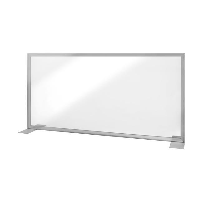"""Schreibtisch Trennwand """"Desk"""" mit glasklarem Banner"""