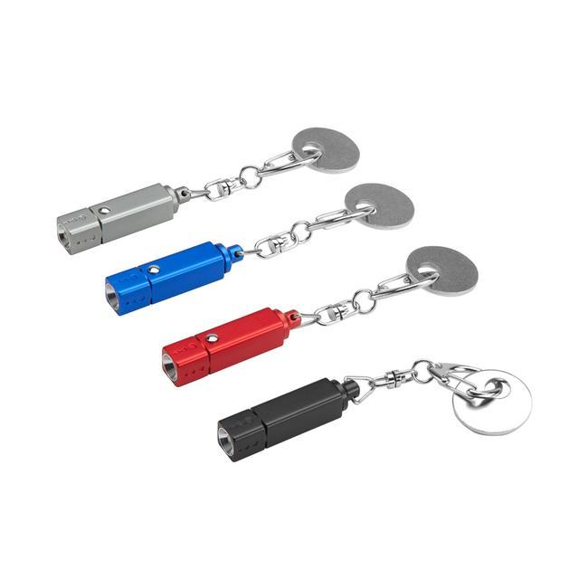 """LED-Schlüsselleuchte """"Square & Coin"""" mit Schlüsselkarabiner und Einkaufswagenchip"""