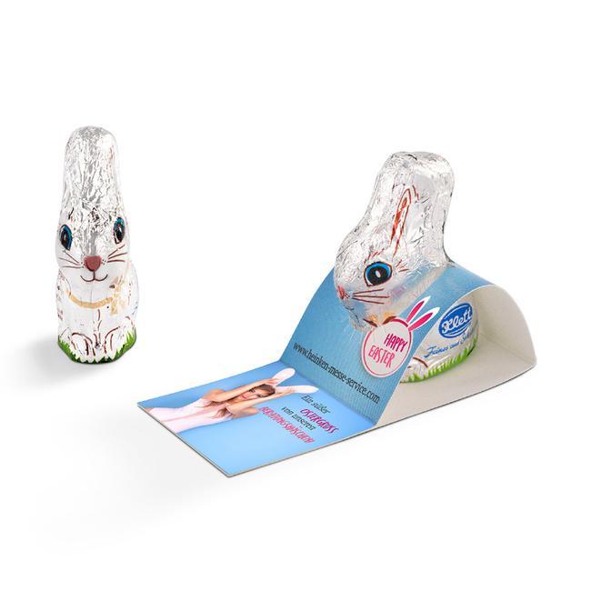 Schoko-Osterhase von Klett mit Werbekarte