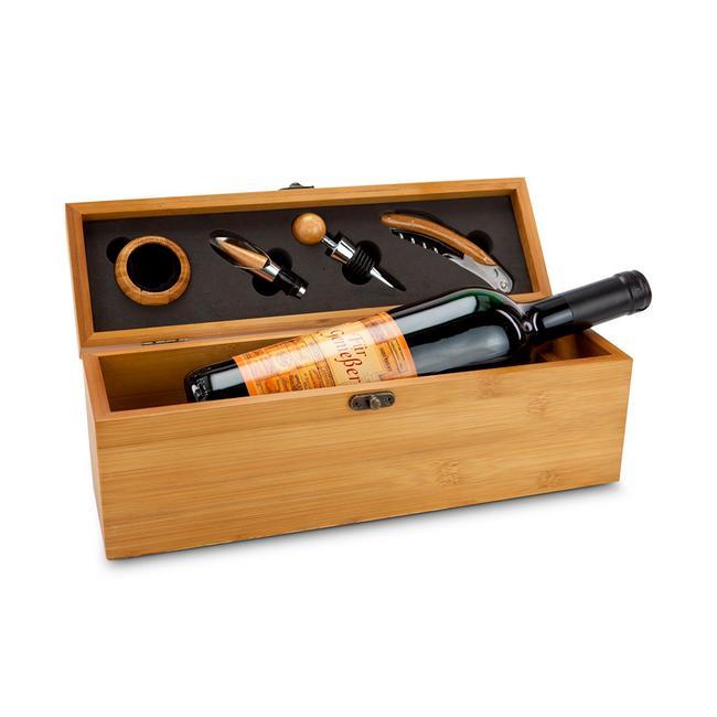 Wein in Bambuskiste