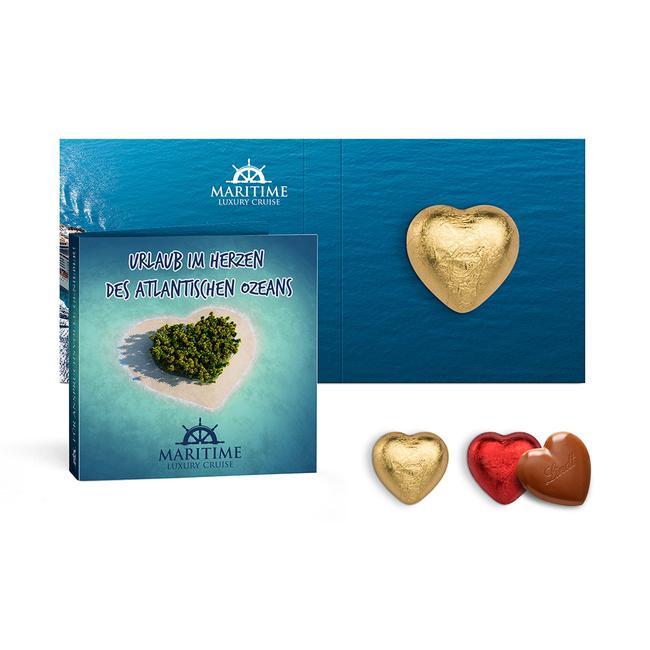 Werbekarte mit Lindt Schokoladen Herz, 5 g