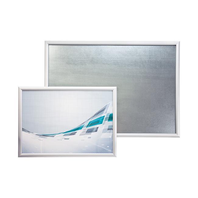 Schwer entflammbarer Klapprahmen, 25 mm Profil, mit Gehrungsecken, silber eloxiert