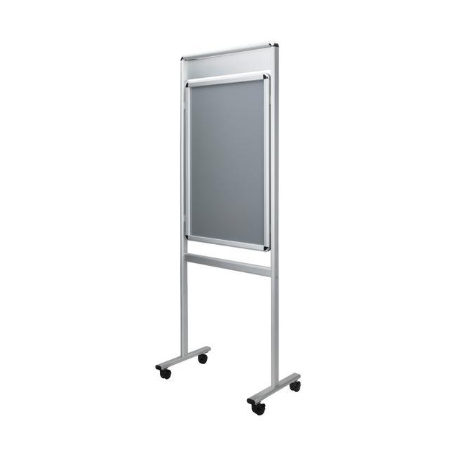 """Plakatständer """"Info"""" mit Topschild, 32 mm Profil, silber eloxiert, Rondoecken, 2-seitig"""