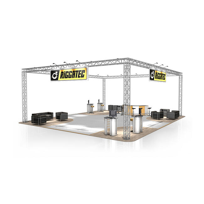 Messestand FD 34, 12.000 mm x 4.500 mm x 10.000 mm (B x H x T)