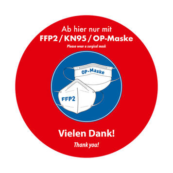 "Fensterfolie ""FFP2 / KN95 / OP-Maske tragen"""