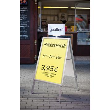 """Regenwasserfester Kundenstopper mit Winddreher """"Windy"""", 35 mm Profil, Gehrungsecken, silber eloxiert"""
