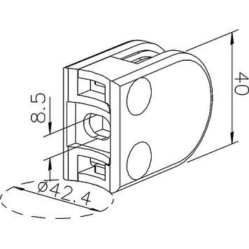 Glasklemme zur Montage an Rohren von 38,1-42,4 mm ø / 6 und 8 mm