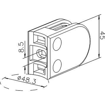 Glasklemme zur Montage an Rohren von 48,3-50,8 mm ø / 6, 8 und 10 mm