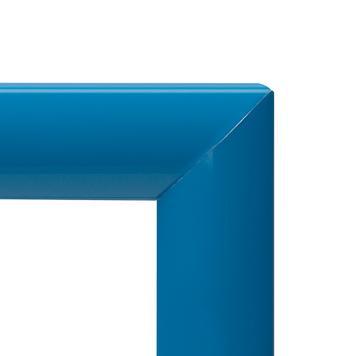 Selbstklebender Klapprahmen ohne Rückwand, 25 mm Profil, DIN A4, blau, mit Gehrungsecken