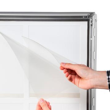 """Regenwasserfester Kundenstopper """"Broker"""", 35 mm Profil, Gehrungsecken, silber eloxiert"""